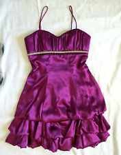 Purple Satin Rhinestone Embellished Sweetheart Prom Party Cocktail Dress 1 / 2