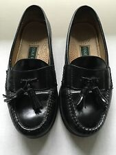 Cole Haan Black Leather Pinch Tassel Loafers 7.5 E Wide Mens Dress Slip-On Shoes