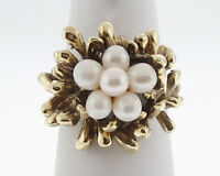 Estate White Pearls Solid 14k Yellow Gold Cocktail Ring