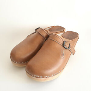 Bastad Wood Clogs Size 39 Tan Brown Buckle Strap Leather Made in Sweden