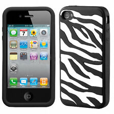 For iPhone 4 4S Rubber SILICONE Skin Soft Gel Case Phone Cover Black White Zebra
