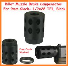 Billet Muzzle Brake Compensator For 9mm Glock- 1/2x28 TPI, Black