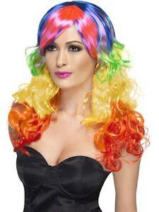 Womans Rainbow Curl LGBT Pride Stay Safe NHS Fancy Dress Wig