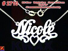 NICOLE Personalized 925 Sterling Silver Name Necklace Handcrafted Custom Pendant