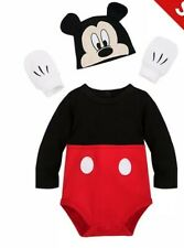 Disney Store Mickey Mouse Baby Costume Body Suit Hat Mittens 9-12 Months BNWT
