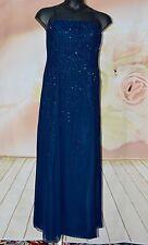 Cassandra Stone Midnight Blue Beaded 100% Silk Formal Gown Dress size 18