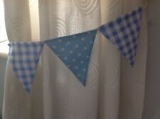 BUNTING CURTAIN TIE-BACKS ~ baby blue gingham and shooting stars