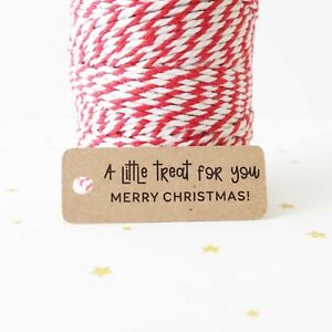 30x Christmas Gift Tags Kraft Labels Merry XMAS Chocolate Little Treat For You