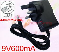 UK AC 100V-240V DC 9V 600mA Switching Power Supply 0.6A Adaptor DC 4.0mm x 1.7mm