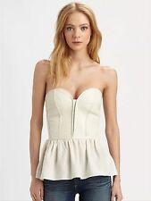 Parker Marilyn Ruffle Peplum Leather Silk Tube Top M fit XS S Strapless Bustier