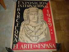 "genuine Exposicion Internacional Barcelona 1929 Poster Oleg Junyent 29"" x 42"" VG"