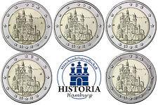 Alemania 5 x 2 euro 2012 castillo Neuschwanstein MZZ A a J banco frescos