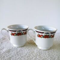 Crown Ming China Old Imari Jian Shiang Lot of 2 Tea Cups Red Blue Floral Gold