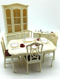 Vintage Sindy Dining Room Set | Hutch | Table and 4 chairs| Side Table | Dishes