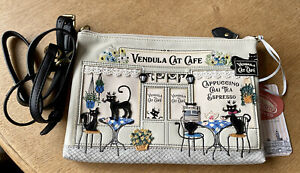 Vendula London Australian Exclusive Black & White (off white) Cat Cafe Pouch Bag