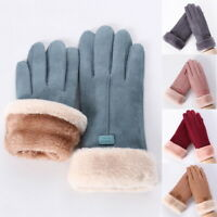 Women  Fashion Sheepskin Windproof Warm Leather Gloves Fur Ladies Mittens Winter