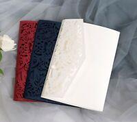 Tri-fold Laser Cut Floral Wedding Invitation Card Christmas Greeting Cards