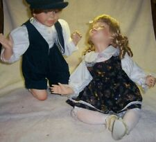 Collector Dolls Boy & Girl Kissing Dolls porcelain head arms and legs soft body