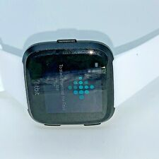 Fitbit Versa FB504SRGY Smart Watch Grey- Heart Rate large white bands