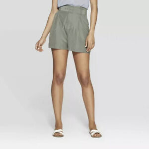 Women's Regular Fit Mid-Rise Belted Shorts - A New Day Olive 18