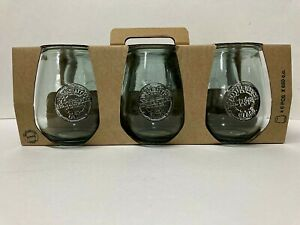 New San Miguel 6 Stemless Wine Glasses Goblets 100% Recycled Glass 22 oz. Spain