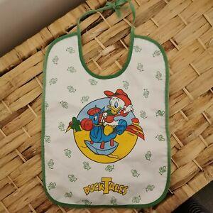 Vintage Disney Baby Bib Ducktales Duck Tales Babywear Pvc Green Tie