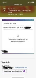 1x leeds festival tickets 2021 Saturday day ticket