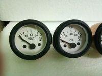 """2"""" / 52mm Electrical Oil Pressure Volt Gauge -White Face Black Bezel"""