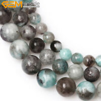 Round Natural Green American Madagascar Black Amazonite Bead Jewelry Making 15''