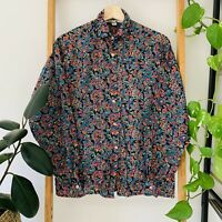 Vintage Sportscraft Womens Multicoloured Paisley Long Sleeve Button Up Blouse