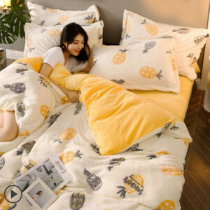 Pineapple White Wear Flannel Bedding Set Duvet Cover Bed Sheet Sets Four-piece