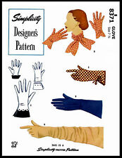 SEXY GLOVES Designer Style 8371 SIMPLICITY 40s Fabric Sewing Pattern Size 7-1/2