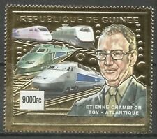 Guinee Guinea High Speed Trains TGV Atlantique Zug Eisenbahn ** 2002 Or Gold