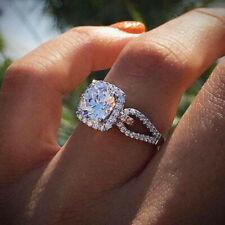 Fashion Women 925 Silver Wedding Ring Round Cut White Sapphire Ring Size 6-10