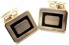 Rare! Authentic Piaget 18k Yellow Gold Black Onyx Cufflinks