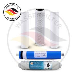 5 Stufen Umkehrosmose Anlage Ersatzset Kartuschen TÜV + Membran NSF Wasserfilter