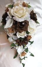 Wedding Cascade Bouquet Bridal Silk flowers CREAM BROWN CALLA LILY 17pc package