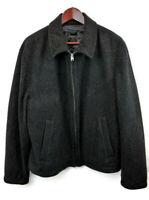 Express Mens Sz L Coat Black  Zip Front Closure Lined Warm Wool Coat Jacket