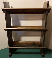 Vtg Antique Primitive Mid Century Modern Danish Slat Board Wood Book Case Shelf