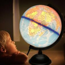 "8"" Illuminated World Earth Globe Geography W/ Stand Built-in LED Night View"