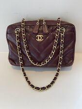 Auth Chanel Camera Bag Chevron Lambskin Small Burgundy Shoulder Bag Gold HW