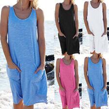 Women Summer Sleeveless Tank Dress Casual Solid O Neck Beach Loose Pocket Dress