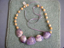 New Vtg-style Mauve/Lilac Necklace Pipi sea shell Wood bead Ribbon Festival Boho