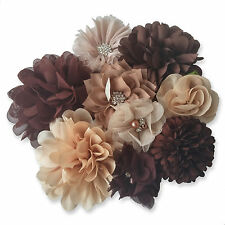 Brown Fabric Flowers CRAFT Glue/Sew On Embellishment Applique Hair