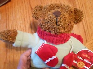"Hallmark 13"" Teddy Mittens Celebrating 100th Anniv, Teddy Bear Christmas Plush"