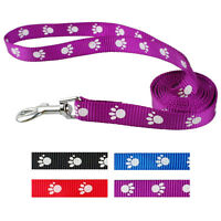 Nylon Dog Puppy Pet  Walking Lead Leash with Paw Print Adjustable 3 Colors