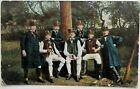 Germany WWI Feldpost German men in Hessische Trachten drinking beer Mailed 1916