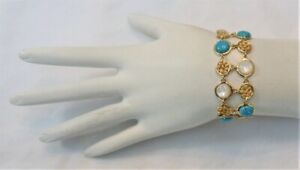 """ROSS SIMONS GOLD VERMEIL STERLING SILVER TURQUOISE MOTHER OF PEARL BRACELET 7.5"""""""