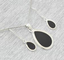 Onyx  Anhänger  Ohrringe  Set   925  Sterling Silber