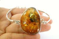 Poland Baltic Amber 925 Sterling Silver Adjustable Bangle Bracelet